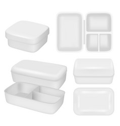 White empty plastic lunch box realistic vector