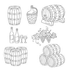 Wine barrels set vector