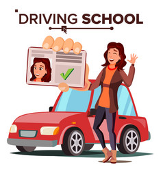 Woman in driving school training car vector