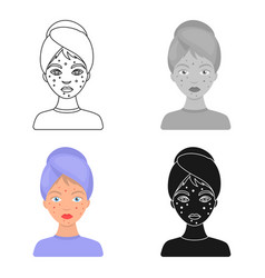 woman with acne icon in cartoon style isolated on vector image