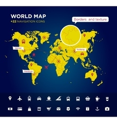 World map with 22 icons vector image