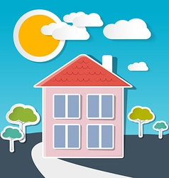 House on Sunny Day with Trees and Clouds vector image