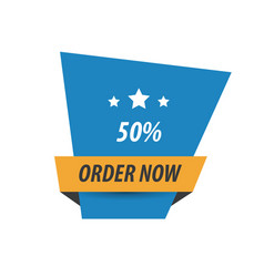 Order now label design blue yellow black vector