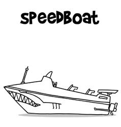 Transport of speedboat hand draw vector image