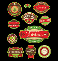 vintage christmas holiday labels and badges vector image vector image
