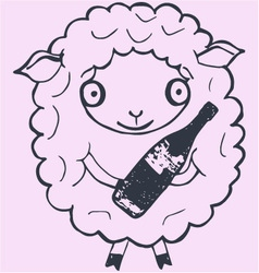 Christmas sheep with champagne vector