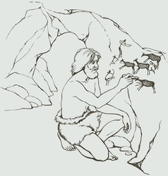 Primitive man draws on stone wall of cave vector image vector image