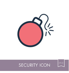 Bomb with lit fuse icon vector