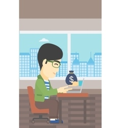Businessman earning money from online business vector image vector image