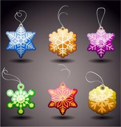 christmas glossy tags snowflakes vector image vector image