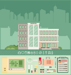 City hospital building in flat style icon set vector