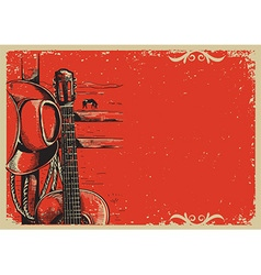country music poster with cowboy hat and guitar on vector image