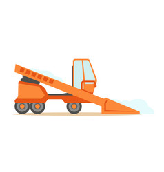 grader orange machine on six wheels part of vector image vector image