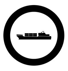 merchant ship icon black color in circle vector image