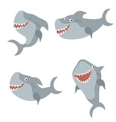 Set funny sharks vector image