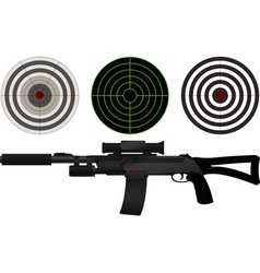 sniper rifle and targets vector image vector image