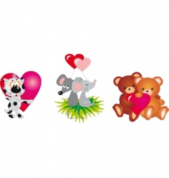 valentines day animals vector collection vector image