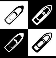 boat sign black and white icons and line vector image vector image
