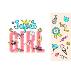 Super girl lettering with girly doodles vector