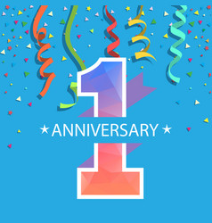 1 year anniversary colorful ribbon blue background vector