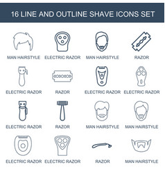 16 shave icons vector