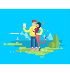 A happy married couple on vacation vector