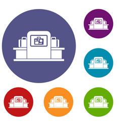 Airport baggage scanner icons set vector