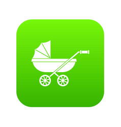 baby carriage icon digital green vector image