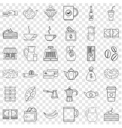 Bean icons set outline style vector