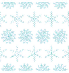 beautiful seamless pattern with blue snowflakes vector image