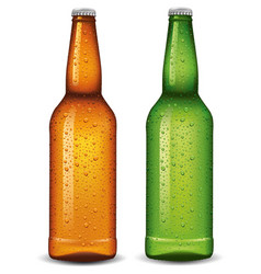 Beer bottles with many fresh water drops vector