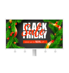 billboard with ads black friday sale holidays vector image