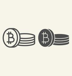 bitcoin coin line and glyph icon crypto coins vector image