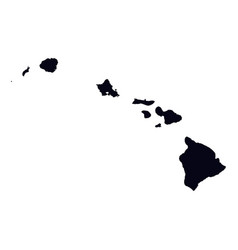 black map of hawaii state isolated on white vector image