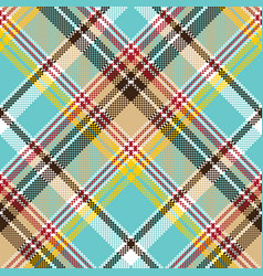 Blue madras pixel texture color fabric seamless vector