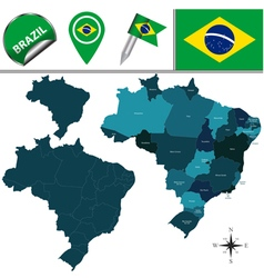 Brazil map with named divisions vector image