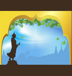 Buddha statue and bodhi tree with golden arch vector