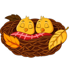 Cartoon baby bird sleeping in the nest vector
