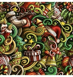 Cartoon cute doodles New Year seamless pattern vector image