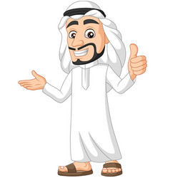 cartoon saudi arab man giving a thumb up vector image