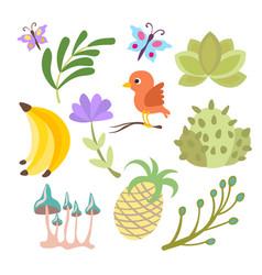 Cartoon set of savanna and tropical flowers vector