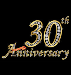 Celebrating 30th anniversary golden sign vector