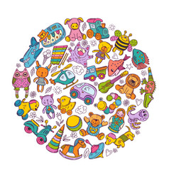 children toys icon set in circle shape doodle vector image