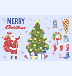 Christmas collection for greeting card scrapbook vector