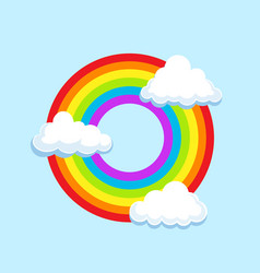 circle lgbt rainbow in clouds symbol icon vector image