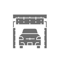 Cleaning brushes in portal carwash grey icon vector