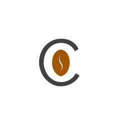 coffee beans logo with letter c vector image