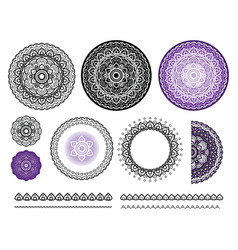 collection elements of mandala round vector image