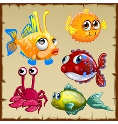 Collection of exotic fish and crab 5 icons vector