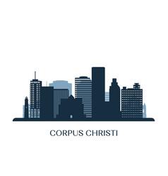 corpus christi skyline monochrome silhouette vector image